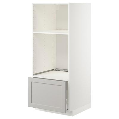 METOD Mobile forno/micro con cassetto, bianco/Lerhyttan grigio chiaro, 60x60x140 cm
