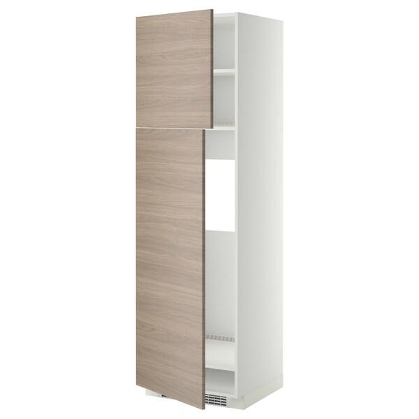 METOD Mobile frigo/2 ante, bianco/Brokhult grigio chiaro, 60x60x200 cm
