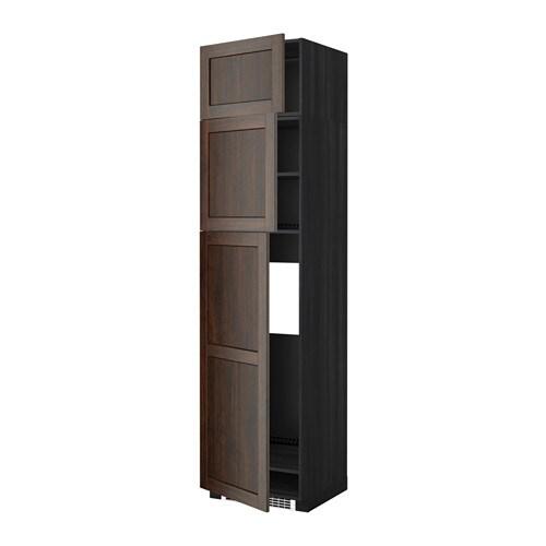 METOD Mobile frigo3 ante  effetto legno nero, Edserum