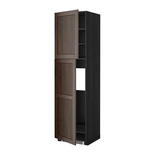 METOD Mobile frigo2 ante  effetto legno nero, Edserum