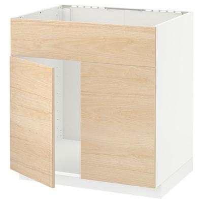 METOD Mobile lavello 2 ante/frontale, bianco/Askersund effetto frassino chiaro, 80x60 cm