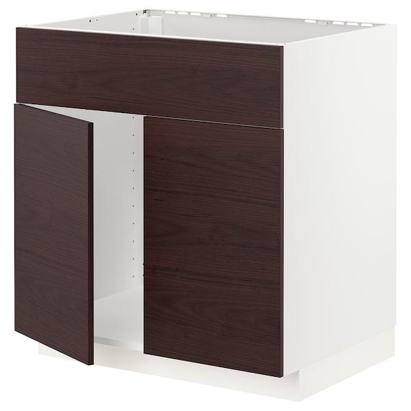 METOD Mobile lavello 2 ante/frontale, bianco Askersund/marrone scuro effetto frassino, 80x60 cm