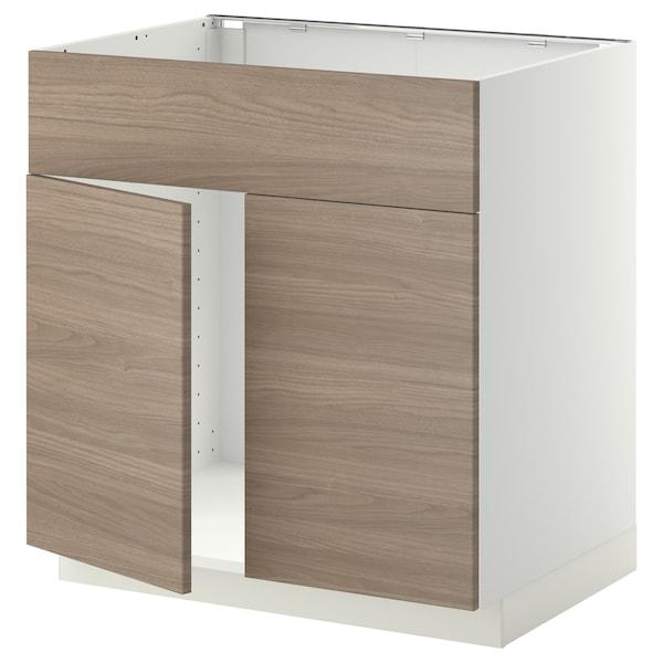 METOD Mobile lavello 2 ante/frontale, bianco/Brokhult grigio chiaro, 80x60 cm
