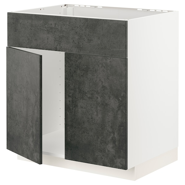 METOD Mobile lavello 2 ante/frontale, bianco/Kalhyttan effetto cemento grigio scuro, 80x60 cm