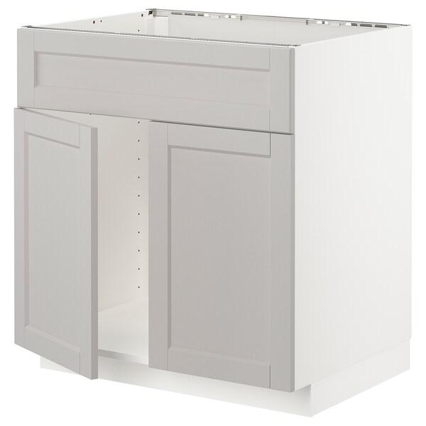 METOD Mobile lavello 2 ante/frontale, bianco/Lerhyttan grigio chiaro, 80x60 cm