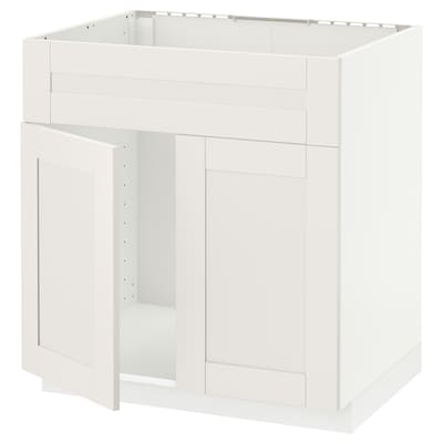 METOD Mobile lavello 2 ante/frontale, bianco/Sävedal bianco, 80x60 cm