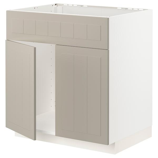 METOD Mobile lavello 2 ante/frontale, bianco/Stensund beige, 80x60 cm