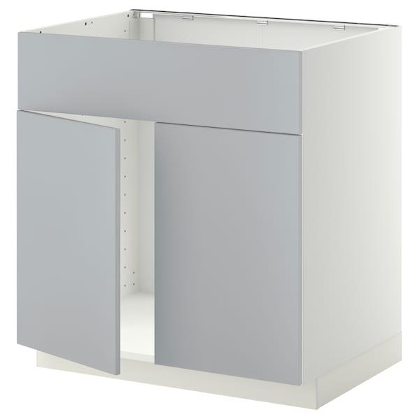 METOD Mobile lavello 2 ante/frontale, bianco/Veddinge grigio, 80x60 cm