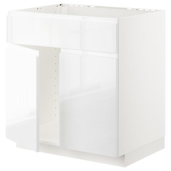 METOD Mobile lavello 2 ante/frontale, bianco/Voxtorp lucido/bianco, 80x60 cm