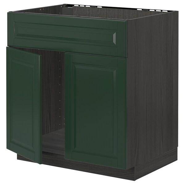 METOD Mobile lavello 2 ante/frontale, nero/Bodbyn verde scuro, 80x60 cm