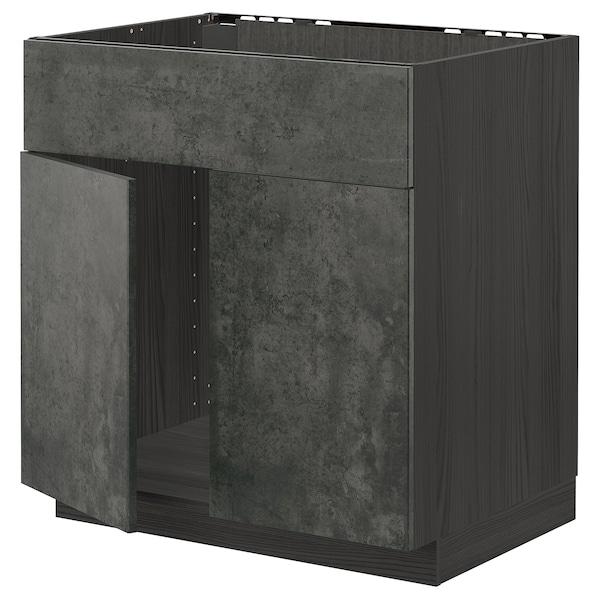 METOD Mobile lavello 2 ante/frontale, nero/Kalhyttan effetto cemento grigio scuro, 80x60 cm
