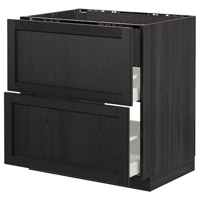 METOD Mobile lavello/2frontali/2cassetti, nero/Lerhyttan mordente nero, 80x60 cm