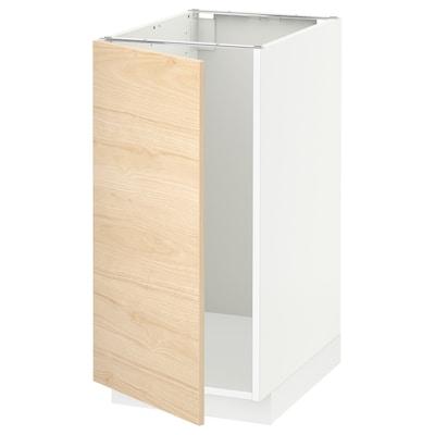 METOD Mobile lavello/raccolta differ., bianco/Askersund effetto frassino chiaro, 40x60 cm