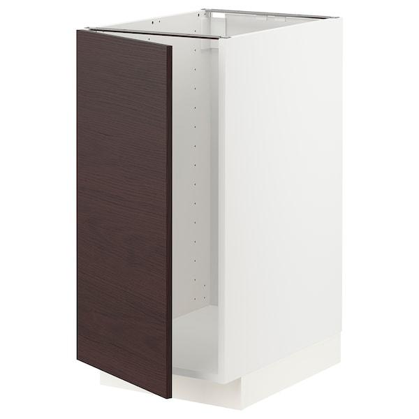 METOD Mobile lavello/raccolta differ., bianco Askersund/marrone scuro effetto frassino, 40x60 cm