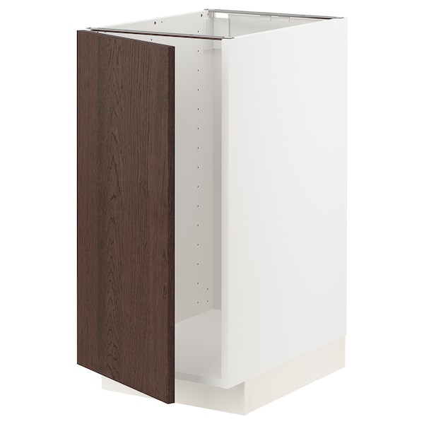 METOD Mobile lavello/raccolta differ., bianco/Sinarp marrone, 40x60 cm