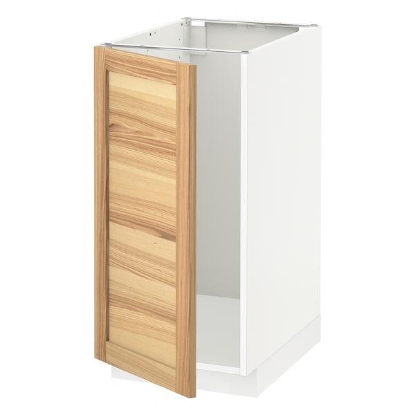 METOD Mobile lavello/raccolta differ., bianco/Torhamn frassino, 40x60 cm
