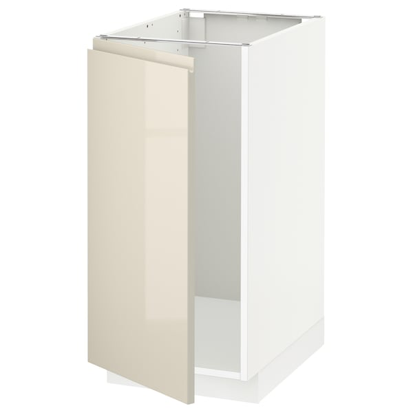 METOD Mobile lavello/raccolta differ., bianco/Voxtorp beige chiaro lucido, 40x60 cm