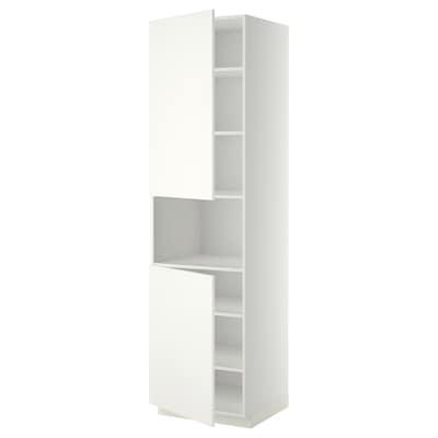 METOD Mobile microonde, 2 ante/ripiani, bianco/Häggeby bianco, 60x60x220 cm