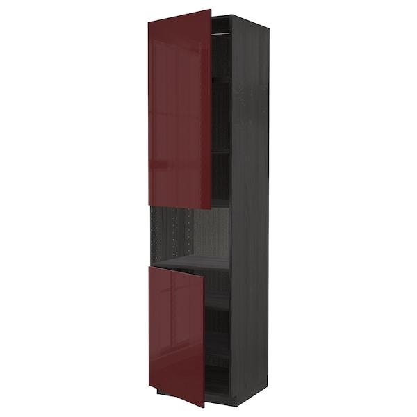 METOD Mobile microonde, 2 ante/ripiani, nero Kallarp/lucido color mogano, 60x60x240 cm