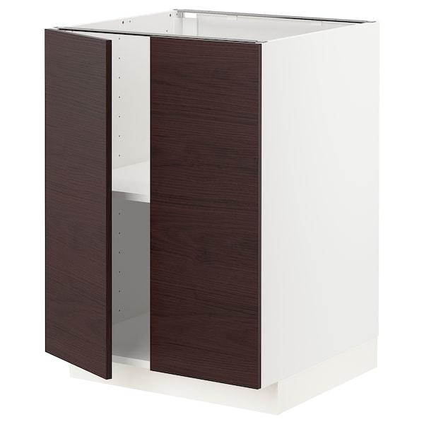 METOD Mobile/ripiano/2 ante, bianco Askersund/marrone scuro effetto frassino, 60x60 cm