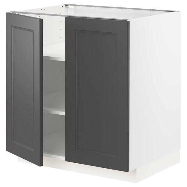 METOD Mobile/ripiano/2 ante, bianco/Axstad grigio scuro, 80x60 cm