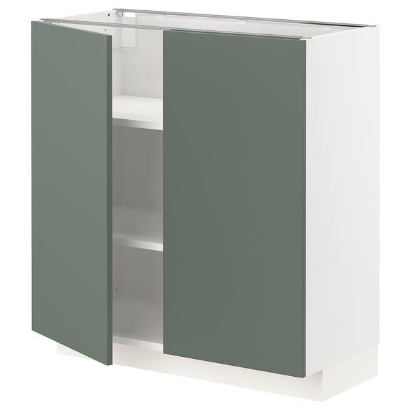 METOD Mobile/ripiano/2 ante, bianco/Bodarp grigio-verde, 80x37 cm