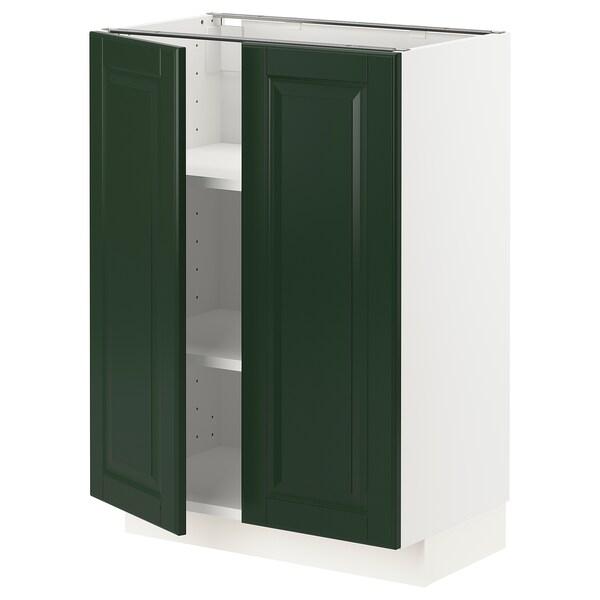 METOD Mobile/ripiano/2 ante, bianco/Bodbyn verde scuro, 60x37 cm
