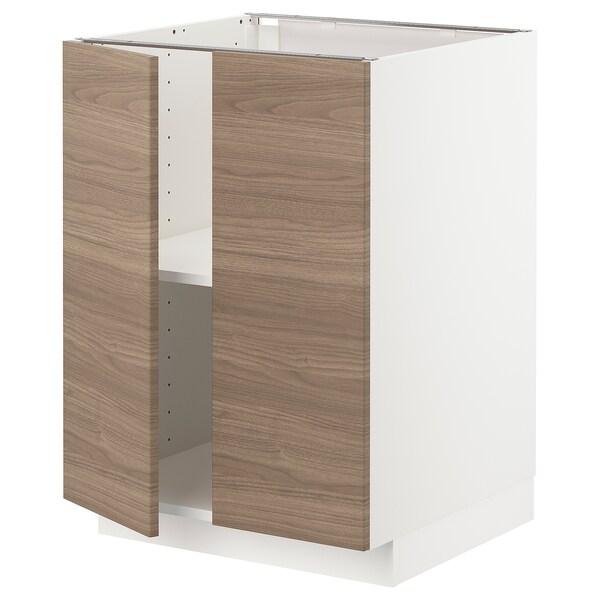 METOD Mobile/ripiano/2 ante, bianco/Brokhult grigio chiaro, 60x60 cm