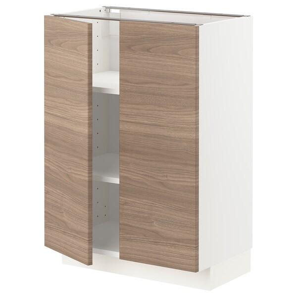 METOD Mobile/ripiano/2 ante, bianco/Brokhult grigio chiaro, 60x37 cm
