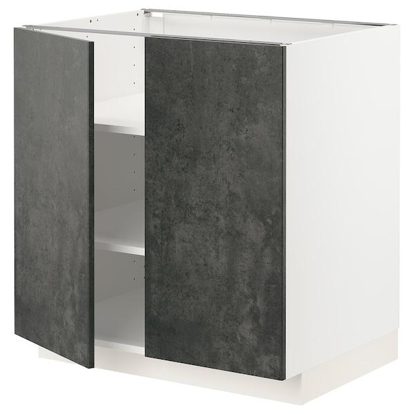METOD Mobile/ripiano/2 ante, bianco/Kalhyttan effetto cemento grigio scuro, 80x60 cm