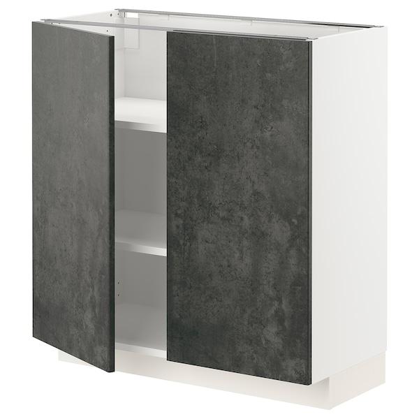 METOD Mobile/ripiano/2 ante, bianco/Kalhyttan effetto cemento grigio scuro, 80x37 cm