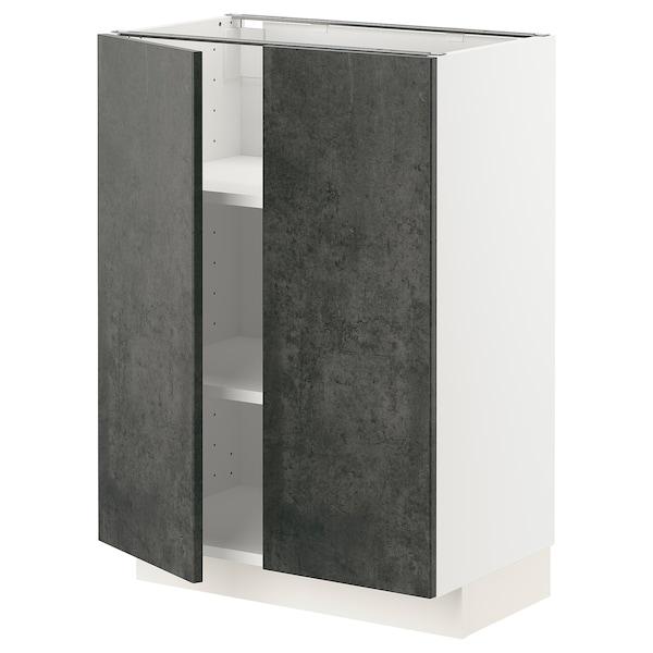 METOD Mobile/ripiano/2 ante, bianco/Kalhyttan effetto cemento grigio scuro, 60x37 cm