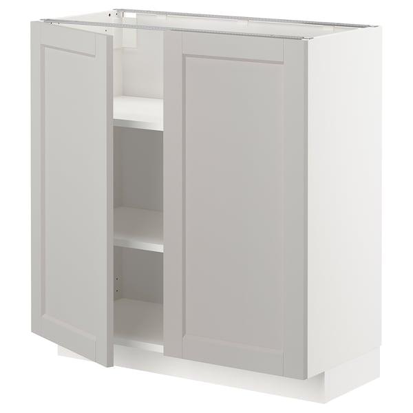 METOD Mobile/ripiano/2 ante, bianco/Lerhyttan grigio chiaro, 80x37 cm