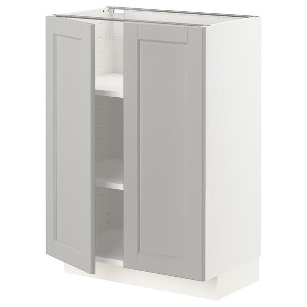 METOD Mobile/ripiano/2 ante, bianco/Lerhyttan grigio chiaro, 60x37 cm