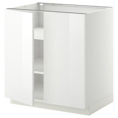 METOD Mobile/ripiano/2 ante, bianco/Ringhult bianco, 80x60 cm