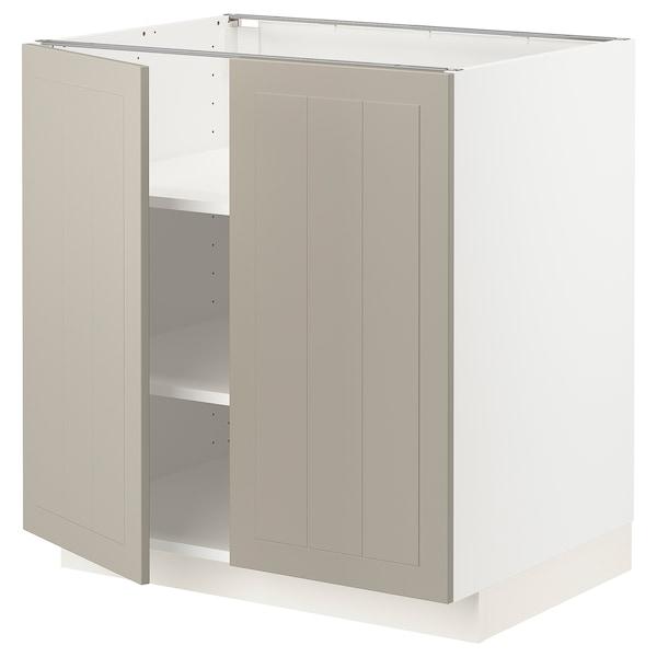 METOD Mobile/ripiano/2 ante, bianco/Stensund beige, 80x60 cm