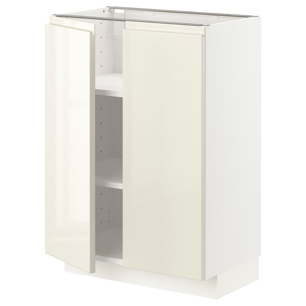 METOD Mobile/ripiano/2 ante, bianco/Voxtorp beige chiaro lucido, 60x37 cm