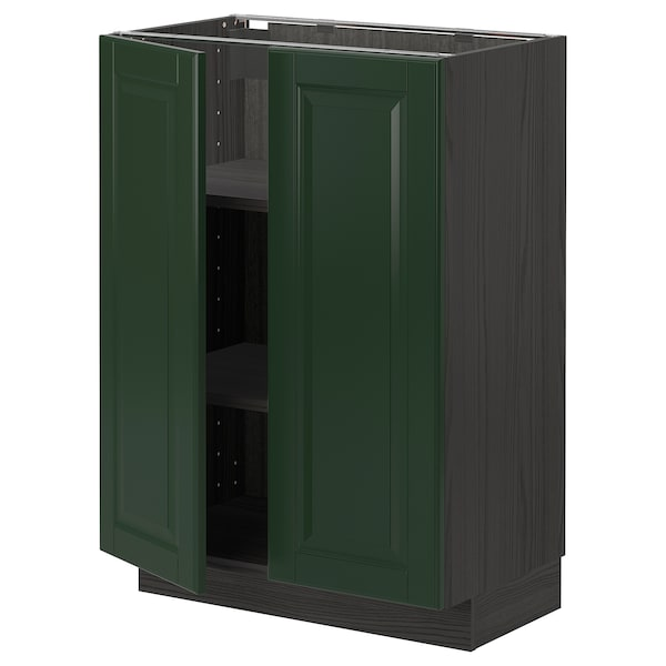METOD Mobile/ripiano/2 ante, nero/Bodbyn verde scuro, 60x37 cm