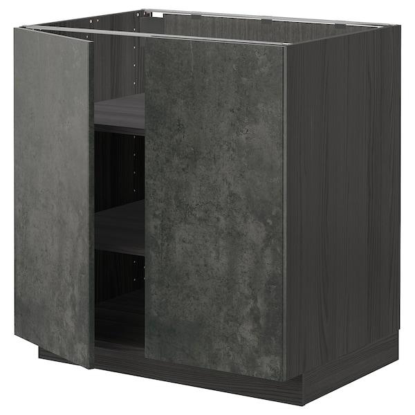 METOD Mobile/ripiano/2 ante, nero/Kalhyttan effetto cemento grigio scuro, 80x60 cm