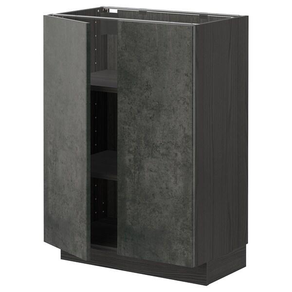 METOD Mobile/ripiano/2 ante, nero/Kalhyttan effetto cemento grigio scuro, 60x37 cm