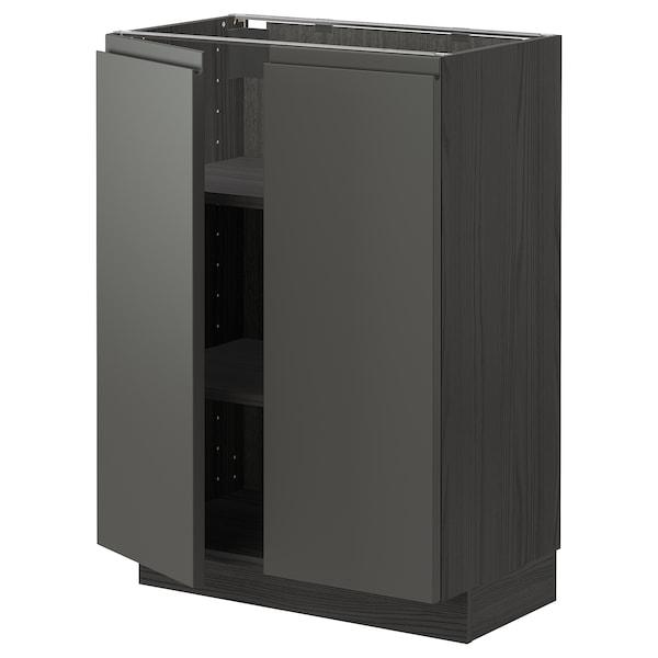 METOD Mobile/ripiano/2 ante, nero/Voxtorp grigio scuro, 60x37 cm