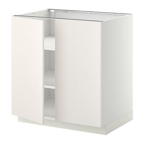 METOD Mobile/ripiano/2 ante - bianco, Veddinge bianco, 80x60 cm - IKEA