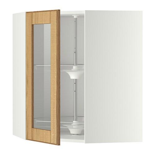 METOD Pensile angol access girev/ant vetr , bianco, Hyttan rovere Profondità: 67.5 cm Altezza: 80.0 cm Larghezza: 67.5 cm