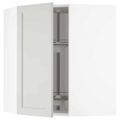 METOD Pensile angolare/cestello girevole, bianco/Lerhyttan grigio chiaro, 68x80 cm