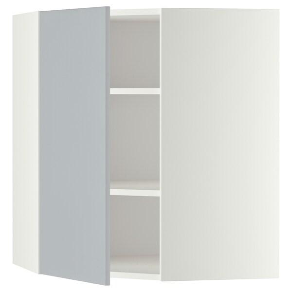 METOD Pensile angolare con ripiani, bianco/Veddinge grigio, 68x80 cm