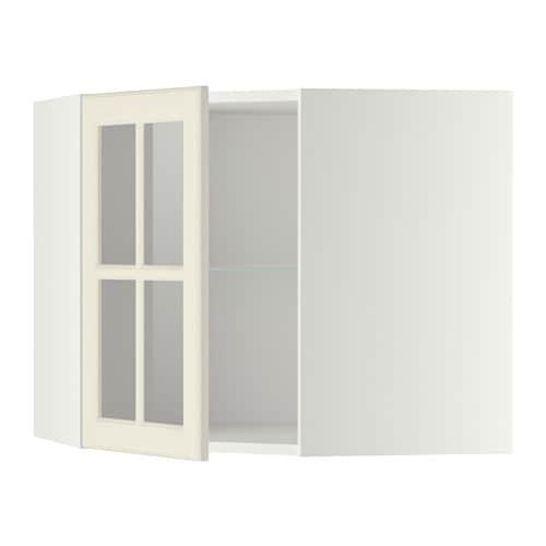 Metod pensile angolare ripiani anta vetro bianco bodbyn for Ikea contenitori vetro