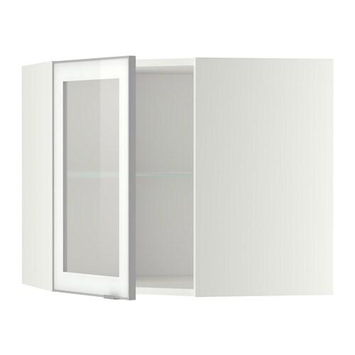 METOD Pensile angolare/ripiani/anta vetro - bianco, Jutis vetro smerigliato/alluminio, 68x60 cm ...