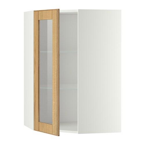 METOD Pensile angolare/ripiani/anta vetro - bianco, Hyttan impiallacciatura di rovere, 68x100 cm ...