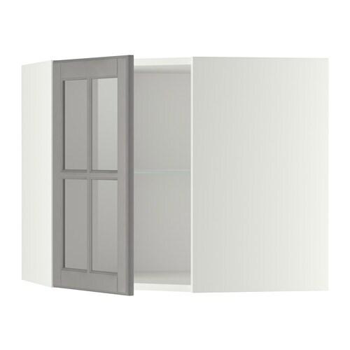 METOD Pensile angolare/ripiani/anta vetro - bianco, Bodbyn grigio ...