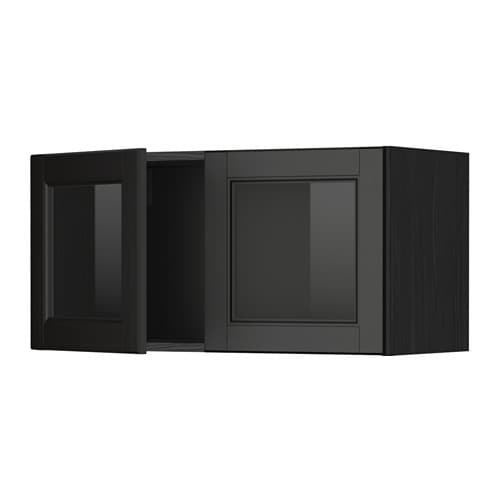 metod pensile con 2 ante a vetro effetto legno nero laxarby marrone nero ikea. Black Bedroom Furniture Sets. Home Design Ideas